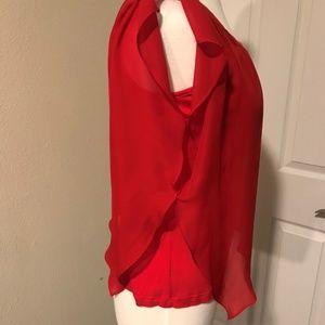 AB Studio Tops - Red Sheer Asymmetrical Flutter Sleeve Blouse